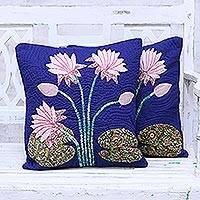 Quilted cotton cushion covers, 'Lotus Delight' (pair) - Pair of Lotus Motif Cotton Cushion Covers from India