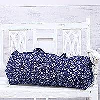 Cotton travel bag, 'Indigo Shades' - Indigo Cotton Travel Bag with Glasses Motif from India