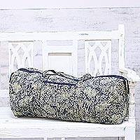 Cotton travel bag, 'Floral Slumber' - Cotton Travel Bag with Printed Floral Motifs from India