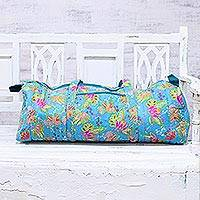Cotton travel bag, 'Turquoise Paradise' - Floral Cotton Travel Bag in Turquoise from India