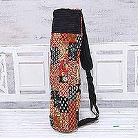 Cotton yoga bag, 'Morning Meditation' - Handcrafted Cotton Patchwork Yoga Bag from India