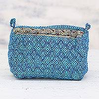 Cotton cosmetic bag, 'Cyan Maze' - Handcrafted Cotton Cosmetic Bag in Cyan from India