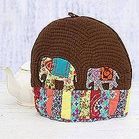 Quilted cotton tea cozy, 'Elephant Friends' - Elephant-Themed Patchwork Cotton Tea Cozy from India