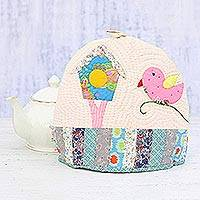 Quilted cotton tea cozy, 'Birdhouse' - Bird-Themed Cotton Patchwork Tea Cozy from India