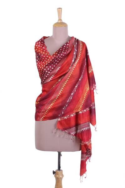 Silk shawl, 'Paisley Passion' - Block Printed Fringed Silk Shawl with Red Stripes from India