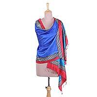 Silk shawl, 'Royal Blue Fascination' - Block Printed Fringed Silk Shawl in Royal Blue from India