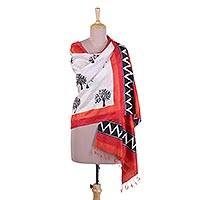 Silk shawl, 'The Orchard' - Block Printed Fringed Silk Shawl with Tree Motifs from India