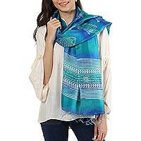 Silk shawl, 'Fish in the Waves' - Block Printed Fringed Fish Motif Silk Shawl from India