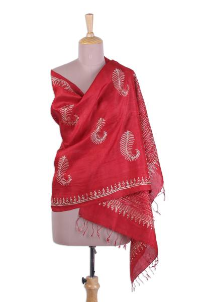 Silk shawl, 'Crimson Leaf Fall' - Block Printed Fringed Leaf Motif Silk Shawl from India