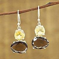 Smoky quartz and citrine dangle earrings, 'Regal Air' - Smoky Quartz and Citrine Gemstone Dangle Earrings