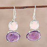 Amethyst and rose quartz dangle earrings, 'Regal Air' - Dangle Earrings from India with Amethyst and Rose Quartz
