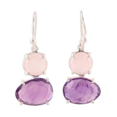 Amethyst and rose quartz dangle earrings, 'Regal Air' - Dangle Earrings from India with Amethyst and Rose Quartz