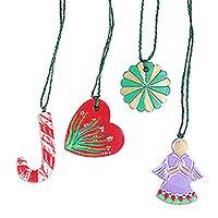 Ceramic ornaments, 'Joyful Christmas' (set of 4) - Four Hand-Painted Colorful Ceramic Ornaments from India