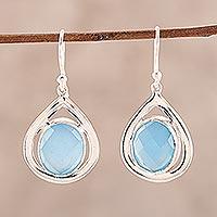 Chalcedony dangle earrings, 'Inland Sea' - Blue Chalcedony and Sterling Silver Dangle Earrings
