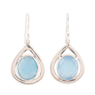 Blue Chalcedony and Sterling Silver Dangle Earrings