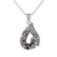 Multi-gemstone pendant necklace, 'Twilight Dew' - Multi-gemstone Sterling Silver Pendant Necklace from India