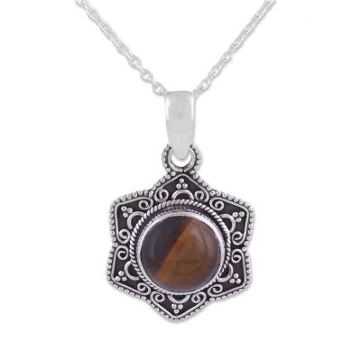 Tiger's eye pendant necklace, 'Flower of the Earth' - Floral Motif Tiger's Eye Sterling Silver Pendant Necklace