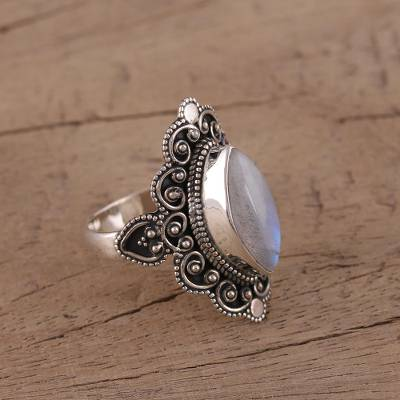 Rainbow moonstone cocktail ring, 'Morning Harmony' - Rainbow Moonstone and Sterling Silver Ring from India