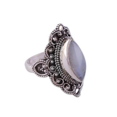 Rainbow Moonstone and Sterling Silver Ring from India