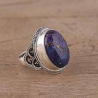 Sterling silver cocktail ring, 'Purple Oval' - Sterling Silver and Composite Turquoise Ring from India