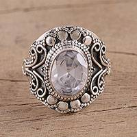 Sterling silver cocktail ring, 'Nature's Whisper' - Sparkling Silver Cocktail Ring from India