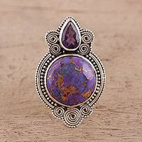 Amethyst cocktail ring, 'Complementary Purple' - Amethyst and Composite Turquoise Cocktail Ring from India