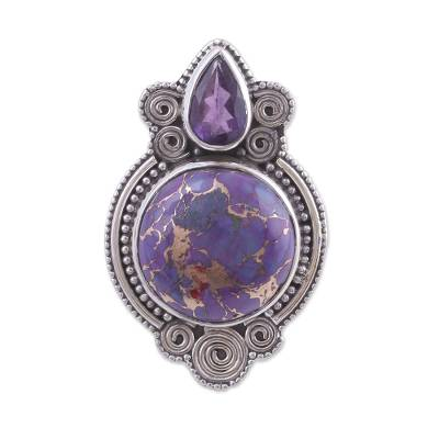 Amethyst and Composite Turquoise Cocktail Ring from India