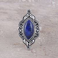 Lapis lazuli cocktail ring, 'Royal Eye' - Eye-Shaped Lapis Lazuli Cocktail Ring from India