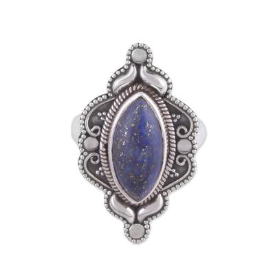 Eye-Shaped Lapis Lazuli Cocktail Ring from India