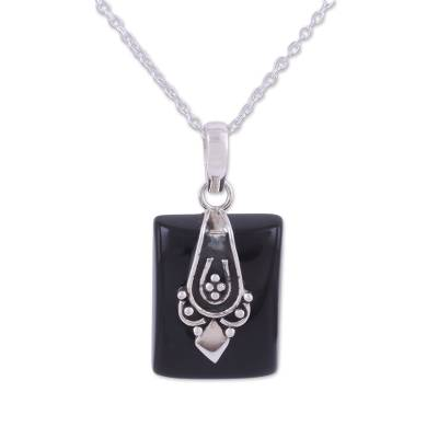 Black Onyx and Sterling Silver Pendant Necklace from India