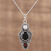 Multi-gemstone pendant necklace, 'Midnight Aroma' - Onyx Garnet and Cultured Pearl Pendant Necklace from India