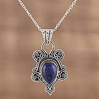 Lapis lazuli pendant necklace, 'Royal Teardrop' - Teardrop Lapis Lazuli and Silver Pendant Necklace from India