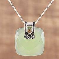 Chalcedony and citrine pendant necklace, 'Aqua Desire' - Chalcedony and Citrine Pendant Necklace from India