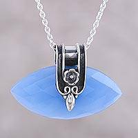 Chalcedony pendant necklace, 'Regal Eye' - Blue Chalcedony and Silver Pendant Necklace from India