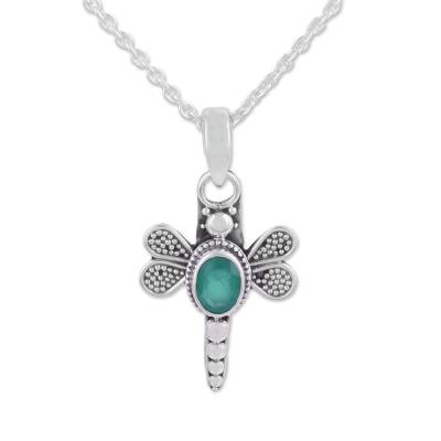 Green Onyx Dragonfly Pendant Necklace from India