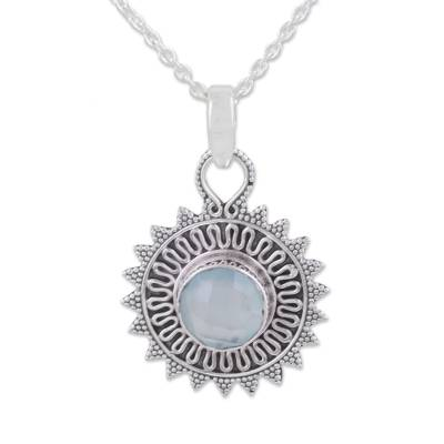 Circular Chalcedony and Silver Pendant Necklace from India