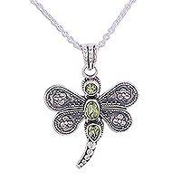 Peridot pendant necklace, 'Dragonfly Kiss' - Peridot and Sterling Silver Dragonfly Pendant Necklace
