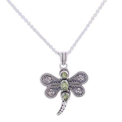 Peridot and Sterling Silver Dragonfly Pendant Necklace