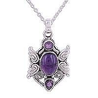 Amethyst pendant necklace, 'Purple Emblem' - Sterling Silver and Amethyst Pendant Necklace from India