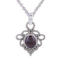 Garnet pendant necklace, 'Pavilions of Jaipur' - Indian Handmade Garnet and Sterling Silver Pendant Necklace
