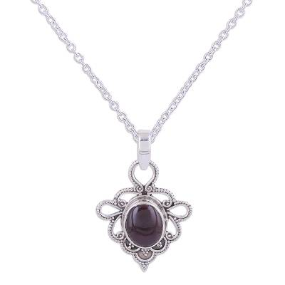 Indian Handmade Garnet and Sterling Silver Pendant Necklace