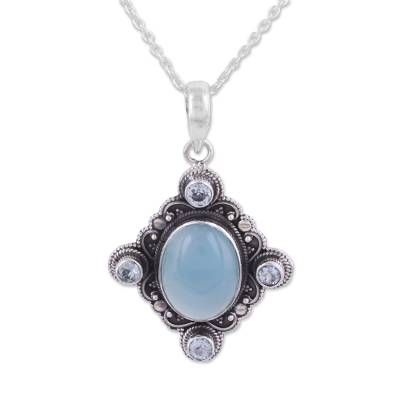 Chalcedony and Blue Topaz Sterling Silver Pendant Necklace