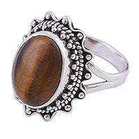 Tiger's eye cocktail ring, 'Balmy Evening' - Indian Sterling Silver and Tiger's Eye Cocktail Ring