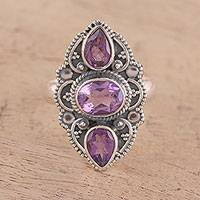 Amethyst cocktail ring, 'Beautiful Lavender' - Sparkling Amethyst and Silver Cocktail Ring from India