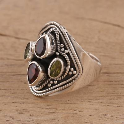 Garnet and peridot cocktail ring, Harmony of Colors