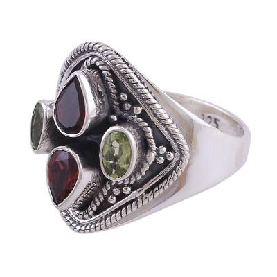 Garnet and Peridot Cocktail Ring from India