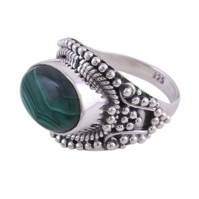 Malachite and Sterling Silver Cocktail Ring from India