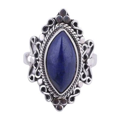 Lapis lazuli cocktail ring, 'Infinity Eye' - Lapis Lazuli and Sterling Silver Cocktail Ring from India