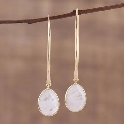 Gold Plated Rainbow Moonstone Dangle Earrings S End In