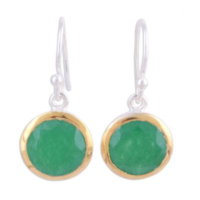 Gold accented onyx dangle earrings, 'Bright Glade' - Gold Accented Sterling Silver Earrings with Green Onyx